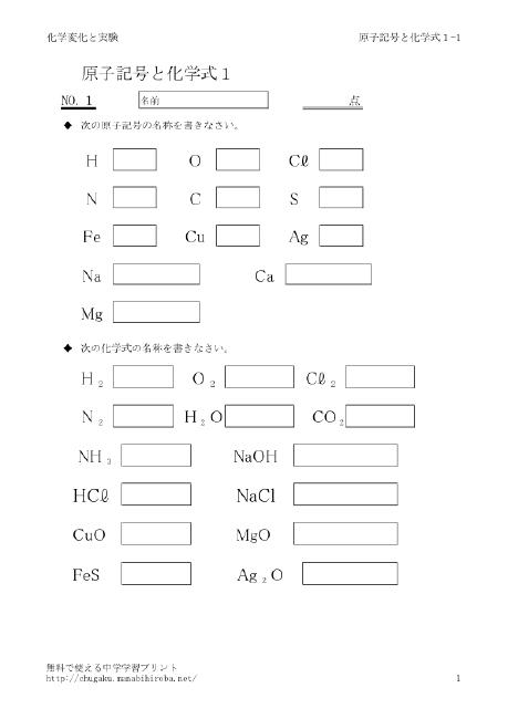 原子と分子、化学式 ー無料で ...